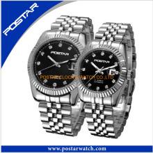 Full aço inoxidável Couple Lover relógio de pulso suíço Day Date Quartz Watch