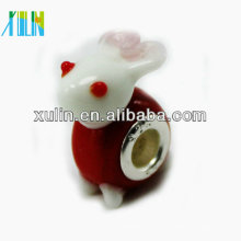 Grânulos de vidro do animal do lampwork do núcleo do chapeamento de prata 925 de 4.5mm