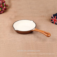 Glänzend weißer Emaille Gusseisen Ofen Safe Grillpfanne