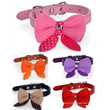 OEM PU Dog Collar with Bow-Tie for Promotional Gift