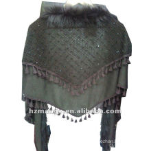 Fashionable triangle knitted fake fur scarf