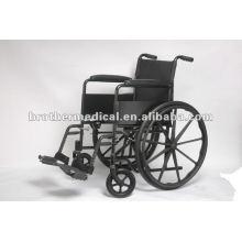 Black Powder Coated Stahl Manueller Rollstuhl mit Mag Wheel