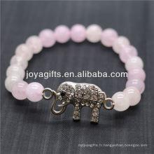 Vente en gros Diamante Elephant With 8MM Semi Precious Stone Stretch Bracelet
