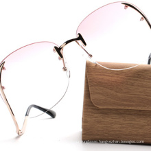 kl1601 fashion women sunglasses in pink tint beautiful oversize rimless glasses