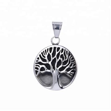 33497 xuping moda de aço inoxidável jóias preto gun cor forma de árvore pingente