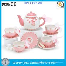 El mejor juego de té hermoso de la flor rosada moderna del regalo