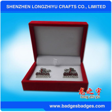 Souvenir Cufflinks with High Quality Fashion Handmade Leather Cufflink Box