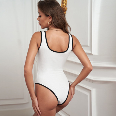 Slim Slimming Bodysuit Amazon Ribbed Knitting Can Be Worn Outside Solid Color Tight-Fitting Plastic Top Women