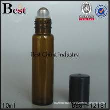 10ml 12ml roll on glass bottle with cap, empty stainless steel roll on bottles, silk screen printing