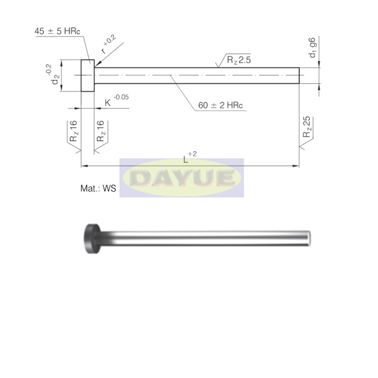 1 2210 Hardened Ejector Pin Cylindrical Head Din 1530 Iso 6751 Hardened Ejector Cylindrical Head Hardanedideal For Extraction Of Pieces On Moulds And Die Casting