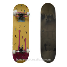 Cheap double kick skateboards with abec7 bearings and pu wheels