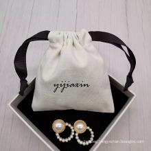Custom Logo printed white Drawstring Storage Bag Eco-friendly cotton canvas Travel jewelry pouch