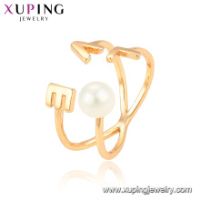 15330 xuping jewellery new women style 18k gold plated finger ring with white pearl jewelry