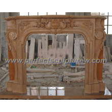 Marble Fireplace with Stone Carving Mantel (QY-LS206)