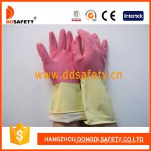 Guantes de látex / goma DIP Flock Liner para lavado de limpieza (DHL215)
