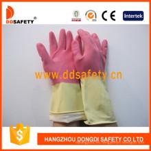 Guantes de látex DIP Flock Liner para lavado de limpieza DHL215