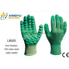 Антивибрационная хлопковая рама с латексными защитными рабочими перчатками (L8000)