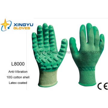 Anti-Vibration Cotton Shell with Latex Coated Safety Work Glove (L8000)