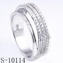 Nuevo diseño Micro Pave Zirconia 925 anillo de plata (S-10114)