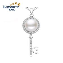 Оптовая Pearl Pendant 9-10mm AAA Хлеб круглый 925 Серебряный пресноводный жемчуг Подвеска