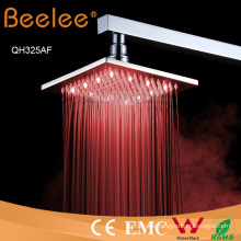 8 Inch Square Self Powered LED Brass Rainfall Shower Head
