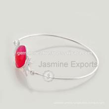 Beautiful Hot Pink Chalcedony Gemstone 925 Sterling Silver Fashion Jewelry For Women 2016 Wholesale Jewelry