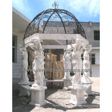 Garden Marble Gazebo with Carving Stone Sculpture Statue (GR051)