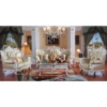 Sofá de cuero de madera para muebles de sala de estar (D511)