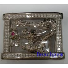 Китайский зодиак дракона стерлингового серебра пряжка пояса для человека