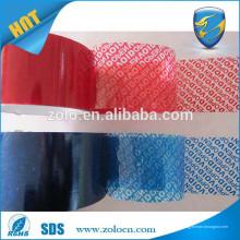 Preço baixo Vermelho / cor azul segurança aberto vazio PET fita e fita de segurança etiqueta