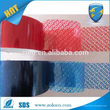 Faible prix Couleur rouge / couleur bleue vide vide Bande PET et étiquette de sécurité