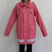 Dark Pink Hooded Waterproof PU Raincoat