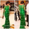 Alibaba Elegante Applique Lace Green Pageant Vestidos de noche Nuevo Estilo de manga larga Satén Corte tren Sirena cremallera Vestidos LE01