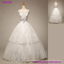 Romantisches weiches Tüll-Schatz-Ballkleid-Hochzeits-Kleid mit Spitze Appliques 2018 Elegantes Ehe-Kleid schnüren sich oben
