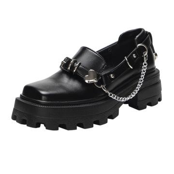 2021 botas de cadena plateada con punta cuadrada de estilo británico