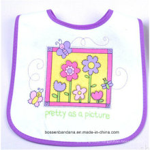 OEM Produce Customized Design Printed Cotton White Baby Feeder Drool Apron