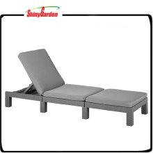 Aluminum Folding PE Rattan Pool Sun Lounge Chair with Cushion