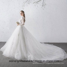 New Princess Long-Sleeve Lace Flower Beading Luxury Wedding Dress