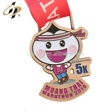Shuanghua factory custom metal marathon medallion with ribbon