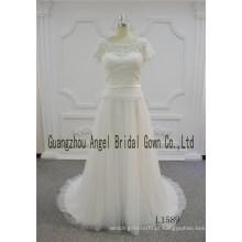 Laço de perolização de manga curta com cinto de cetim vestido de noiva 2017