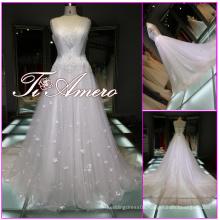1A586 lastest designer luxury beaded appliqued diamond small flowers wedding dresses 2016 ball gown