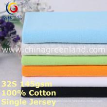 Sola tela hecha punto del jersey del algodón para la materia textil de la camisa (GLLML376)