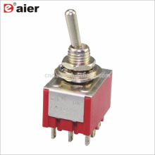 6A 125V ON-ON 2 Position 3 Pole Double Throw Toggle Switch 9 Pin