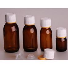 Botella de vidrio ámbar para el jarabe DIN PP 28mm