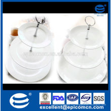 Бытовая керамическая посуда из белого керамического фарфора 3 уровня