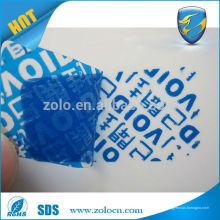 Alta calidad descubre etiquetas de seguridad evidentes de la etiqueta de la seguridad de la palabra de la licencia de la licencia