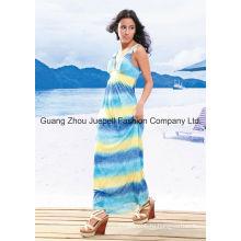 Вязание Deep V племенной печати женщин Новый дизайн одежды Maxi платье