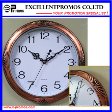 Copper-Colored Frame Logo Impression Round Plastic Wall Clock (Item20)