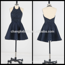 New Short Cocktail Dress Beaded Crystal Prom Dress backless Halter party dress