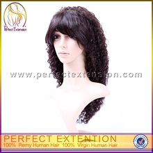 For Women Indian Remy All Hand Tied Afro Kinky Curly Front Lace Wig For Black Women